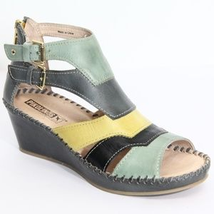 Pikolinos Wedge Leather Sandals sz 37 New Women